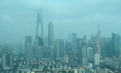 Blick auf Shanghai Pudong